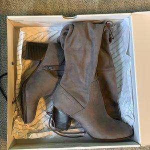 ALDO Thigh-High Suede Grey Boots